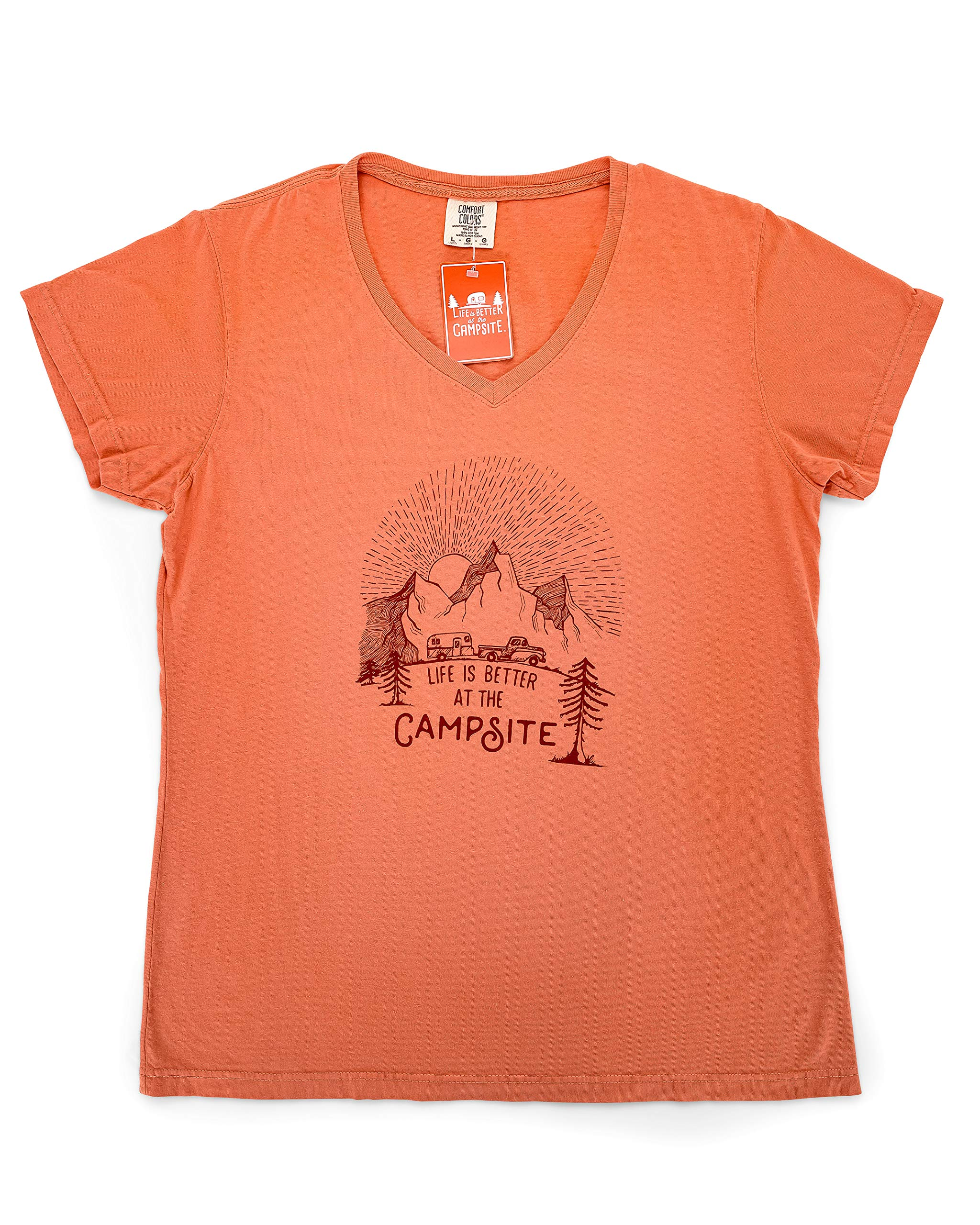 Camco Terracotta Life is Better at The Campsite Sunrise Sketch Print V-Neck Shirt, 100% Ring Spun Cotton Tee, Small (53277)