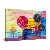 """Startonight Canvas Wall Art Colored Lollipops Abstract Painting Framed 32"""" x 48"""""""