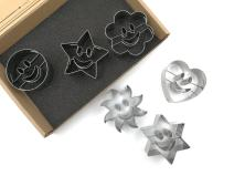 JOKUMO Smiley Emoji Cookie Cutters Set – 6 PC High Grade 430 Stainless Steel – Smile Face - Circle, Sun, Flower, Hexagon, Star and Heart