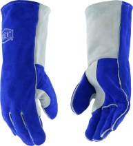 West Chester IRONCAT 9051 Premium Split Cowhide Leather Stick Welding Gloves: Blue/Grey, Large, 12 Pairs