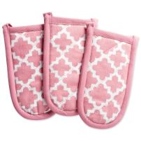 """DII Cotton Lattice Pan Handle Holders, 6 x 3"""" Set of 3, Machine Washable and Heat Resistant Pan Handle Sleeve for Kitchen Cooking & Baking-Rose Pink"""