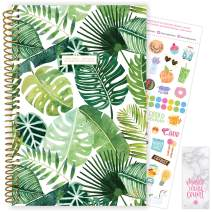 """bloom daily planners 2020-2021 Academic Year Day Planner (July 2020 - July 2021) Organizer & Calendar - Weekly/Monthly Dated Agenda Book with Stickers & Bookmark - 6"""" x 8.25"""" - Tropical Palm Leaves"""