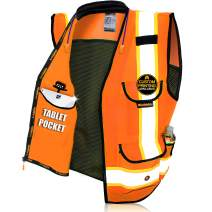 KwikSafety (Charlotte, NC) GODFATHER (Cushioned Collar) Class 2 ANSI OSHA High Visibility Safety Vest 9 Pockets Reflective Tape Heavy Duty Zipper Mesh Hi Vis Construction Men Women Orange Large