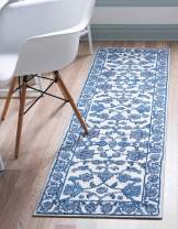 Rugs.com Boston Collection Rug – 8 Ft Runner Ivory Low-Pile Rug Perfect for Hallways, Entryways