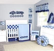 Pam Grace Creations Race Car Crib Bedding Set, Blue | Dark Blue | Baby Blue, Standard Crib