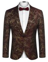 COOFANDY Men's Floral Tuxedo Jacket Slim Fit Luxury Dinner Jacket One Button Suit Blazer Jackets for Party,Wedding,Prom