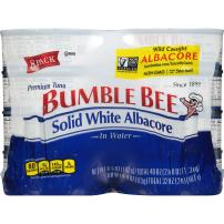 BUMBLE BEE Solid White Albacore Tuna in Water, Canned Tuna Fish, High Protein Food, Keto, 5 Ounce, Pack of 48