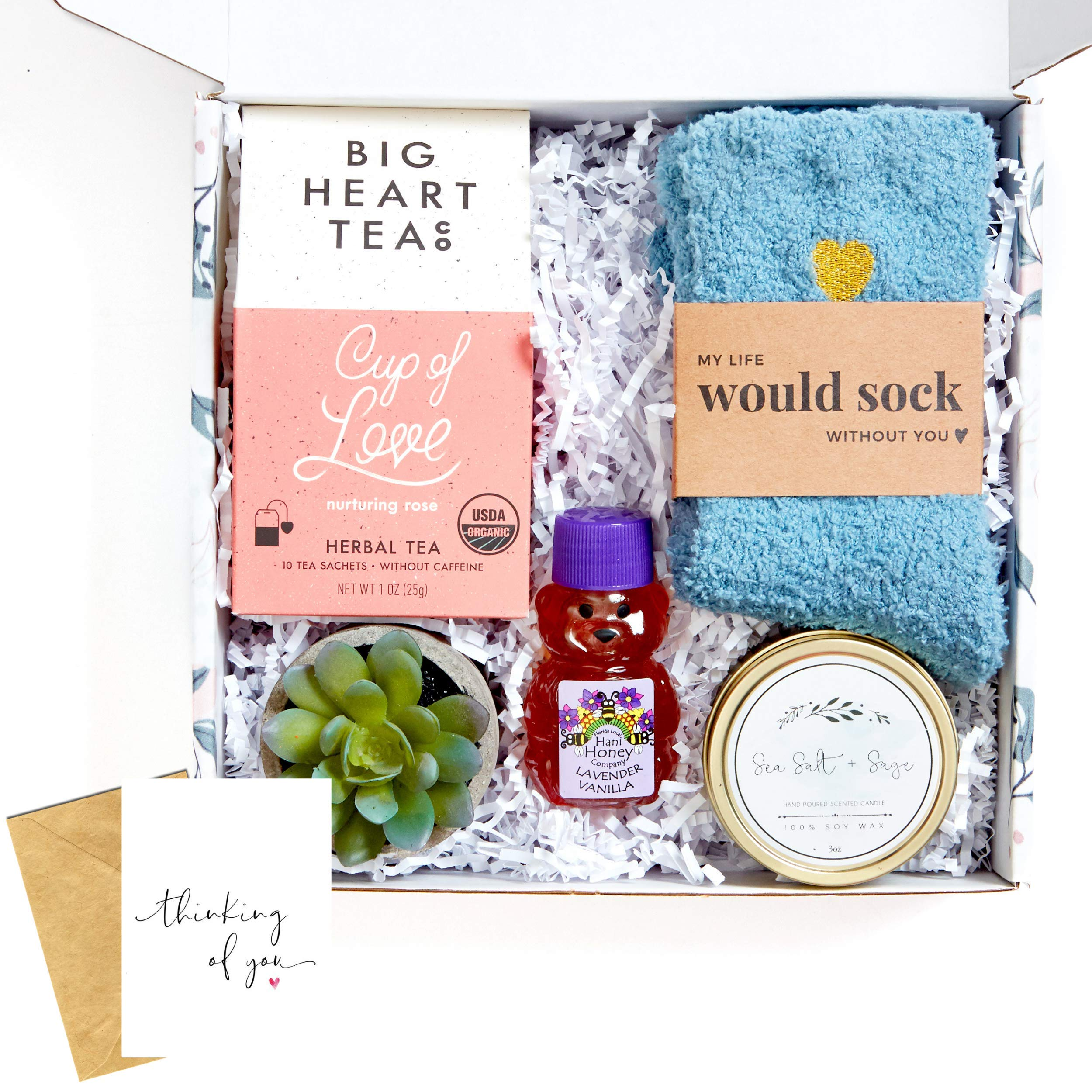 UnboxMe Care Package For Women | Get Well Soon Gift Feel Better Soon | Stress Relief Gift Self Care Encouragement Gift Nurse Gift Bff Gift, Cancer Gift, Happy Birthday Gift (Thinking Of You Card)