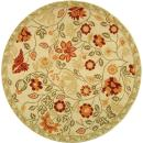 Safavieh Chelsea Collection HK716A Hand-Hooked Ivory and Green Premium Wool Round Area Rug (4' Diameter)