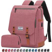 Travel Laptop Business Backpack, Anti Theft Water Resistant School Computer Bagpack Gifts for Men & Women,Fits 15.6 Inch Notebook with USB Charging Port Bonus a Small pencil Case, Light red