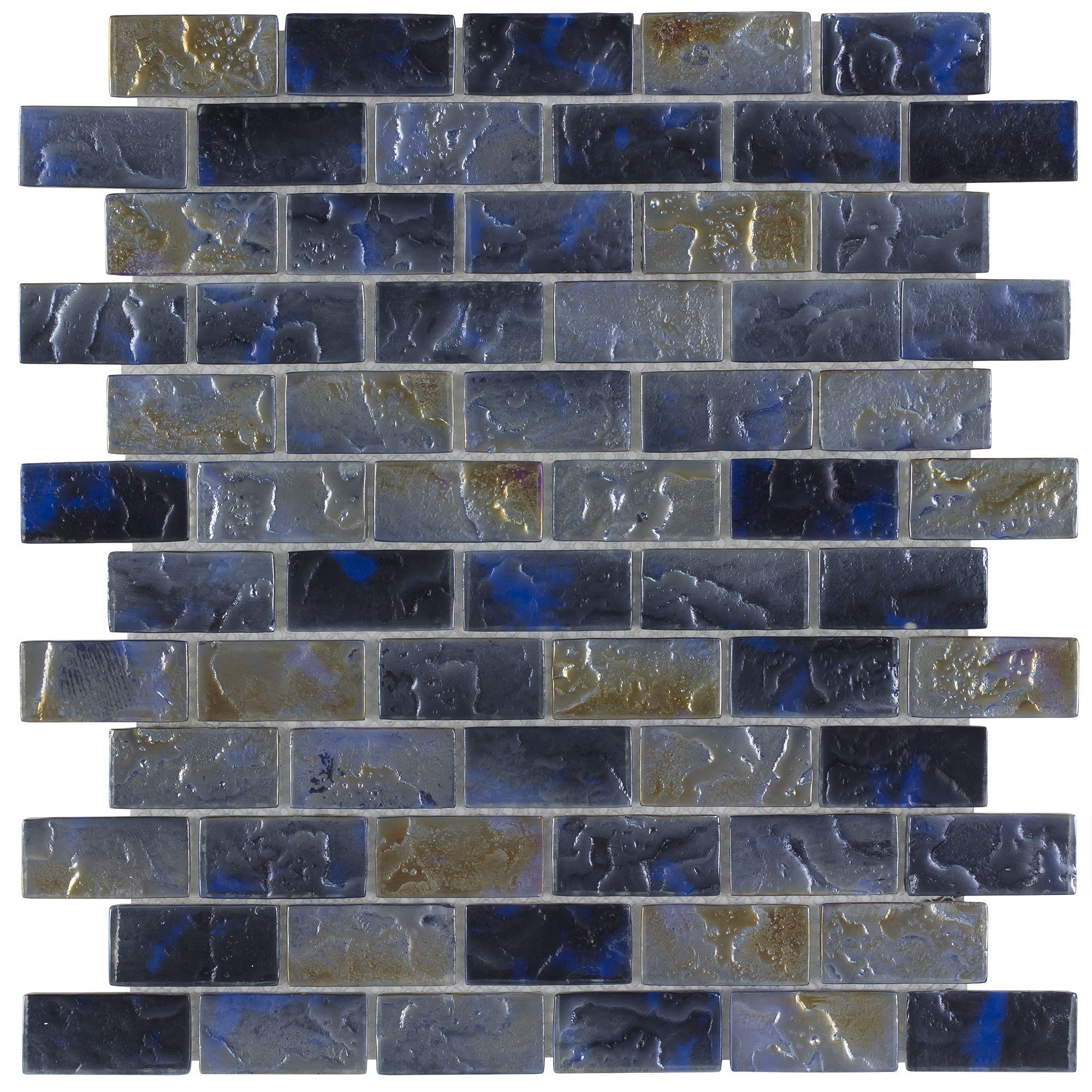 MTO0089   Classic Mini Brick Blue & Grey Frosted Glossy Glass Mosaic Tile