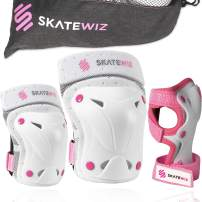 SKATEWIZ Protect-1 Elbow and Knee Pads - with Infinity Hook & Loop Straps for Better Fit - Designed in Germany - Elbow Pads Wrist Guards Knee Savers [6pcs] - Protective Gear Set with Bonus Carry Bag