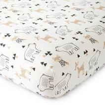 Levtex Baby - Bailey Crib Fitted Sheet - Fits Standard Crib and Toddler Mattress - Tossed Fox, Bear and Deer - Charcoal, Taupe, White - Nursery Accessories - 100% Cotton