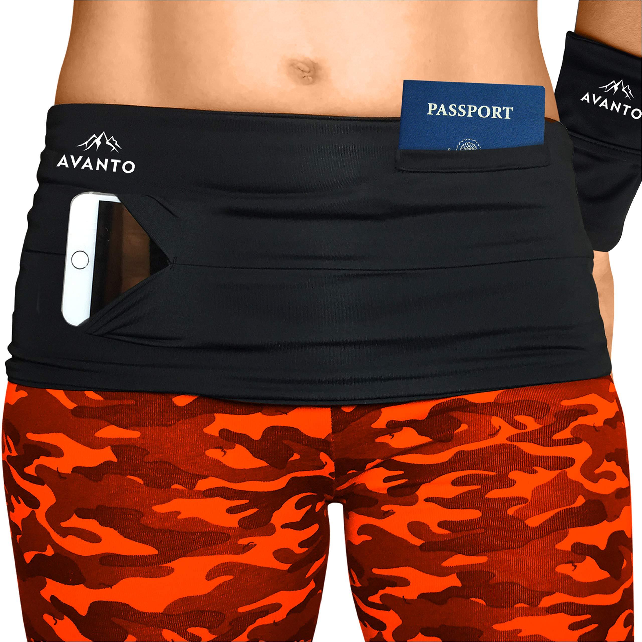 AVANTO Slim Fit Running Belt with Zippered Wrist Wallet, Phone Holder for Running, Passport Holder, Travel Money Belt, Waist and Fanny Pack for Women and Men, Feels Like Second Skin