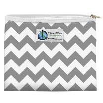 Planet Wise Reusable Zipper Sandwich and Snack Bags, Sandwich, Gray Chevron Poly
