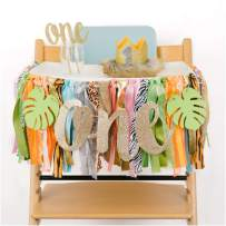PapaKit Baby Boys Wild One King of The Safari 1st Birthday High Chair Premium Decoration Set (Lion Crown Hat, Cake Topper, Banner, Garland)