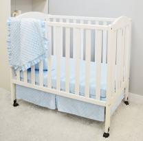 American Baby Company Heavenly Soft Minky Dot 3-Piece Mini/Portable Crib Bedding Set, Blue, for Boys and Girls