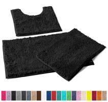 LuxUrux Bathroom Rugs 3pc Non-Slip Shaggy Chenille Bathroom Mat Set, Includes U-Shaped Contour Toilet Mat, 20 x 30'' and 16 x 24'' Bath Mat, Machine Washable (3 Pc Set - Style A, Black)