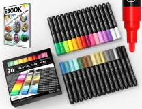 TOOLI-ART 30 Acrylic Paint Pens Assorted Markers Set 3.0mm Medium Tip for Rock, Canvas, Mugs, Most Surfaces. Non Toxic, Water-Based, Quick Drying