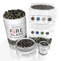 EcoGen Fire Glass Rocks for Outdoor Fire Pits and Indoor Fireplace, Color, Optimal Heat for Propane or Gas, Tempered and Reflective, Eco-Friendly Packaging, Black 1/2 inch Non-Reflective 12 lbs.