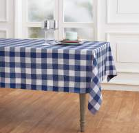 Solino Home 100% Pure Linen Buffalo Check Tablecloth - 60 x 120 Inch, Blue & White - Rectangular Linen Tablecloth for Indoor and Outdoor use