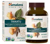 Himalaya Organic Trikatu, Equivalent to 3,787 Trikatu Powder  for Gas Relief, Bloating Relief and Occasional Heartburn Relief,  60 Caplets, 2 Month Supply