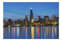 City of Chicago Skyline and Night Lights Photography A-90305 (Premium 1000 Piece Jigsaw Puzzle for Adults, 19x27)