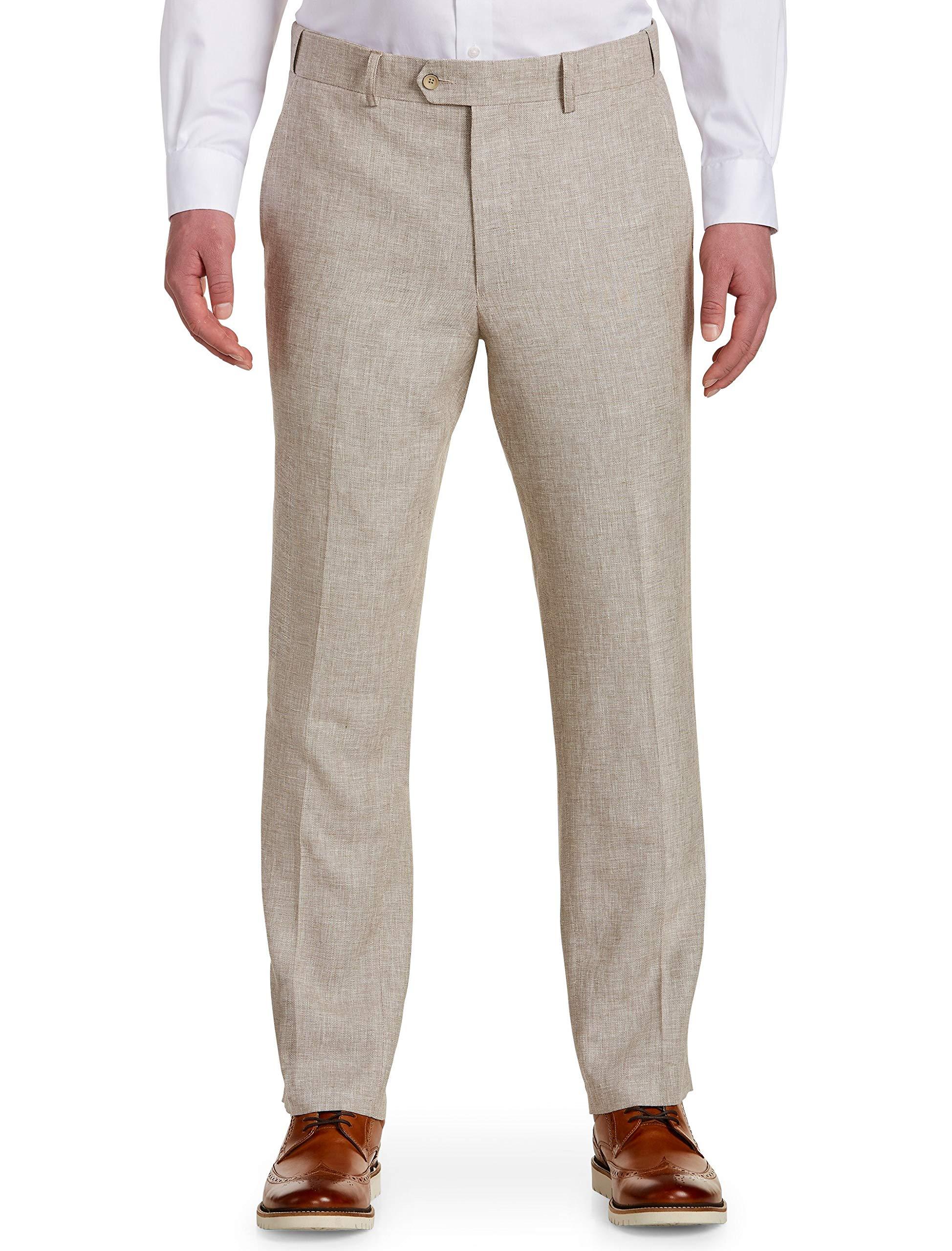 Oak Hill by DXL Big and Tall Waist-Relaxer Flat-Front Linen-Blend Suit Pants