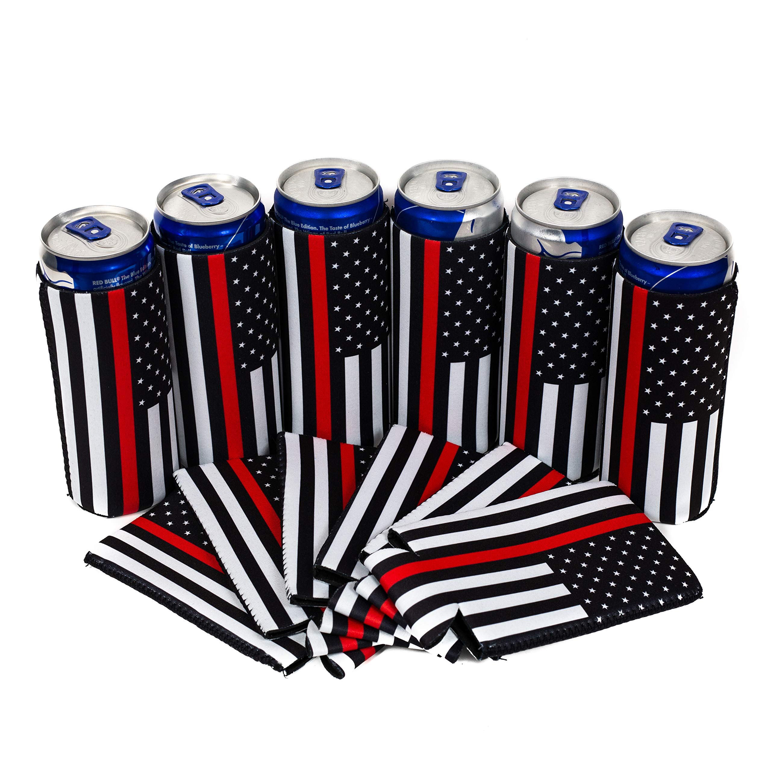 QualityPerfection 6 Slim Can Cooler Sleeves - Beer Skinny 12 oz Neoprene Coolie -Perfect 4 Michelob Ultra,Spiked Seltzer,Truly,White Claw - Gift For Reunion,Graduation,Retirement(6,Firefighter)