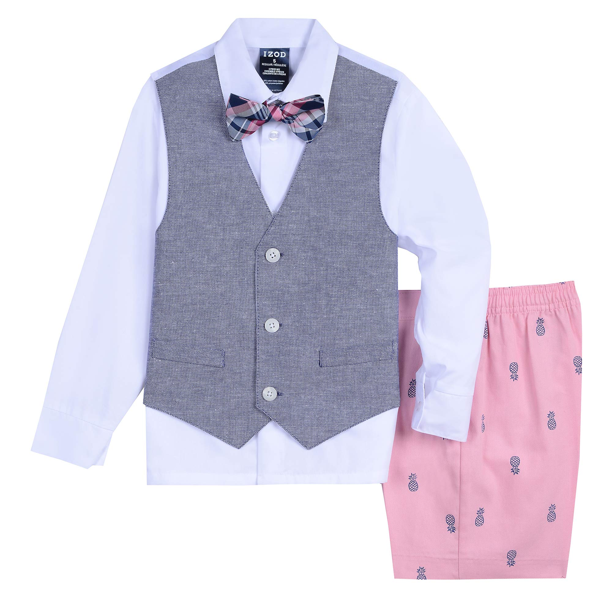 Izod Boys' 4-Piece Vest Set with Dress Shirt, Bow Tie, Shorts, and Vest