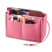 Purse Organizer, Felt Bag Insert Organizer With Zipper, Handbag Tote Bag Insert Fits LV Speedy (Medium, Light Pink)