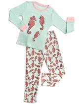Leveret Kids & Toddler Pajamas Girls 2 Piece Pjs Set Cotton Top & Fleece Pants Sleepwear (2-14 Years)