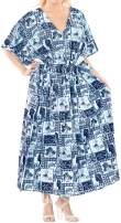 LA LEELA Women's Caftan Casual Dress Night Gown Beach Cover Ups Drawstring A