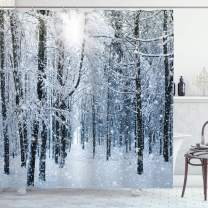 """Ambesonne Winter Shower Curtain, Snow Covered Forest Idyllic Early Morning Scenery Seasonal Xmas Nature, Cloth Fabric Bathroom Decor Set with Hooks, 70"""" Long, Blue White"""