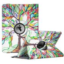 """Fintie Rotating Case for New iPad 7th Generation 10.2 Inch 2019 - [Built-in Pencil Holder] 360 Degree Rotating Smart Protective Stand Cover with Auto Sleep/Wake for iPad 10.2"""" Tablet, Love Tree"""