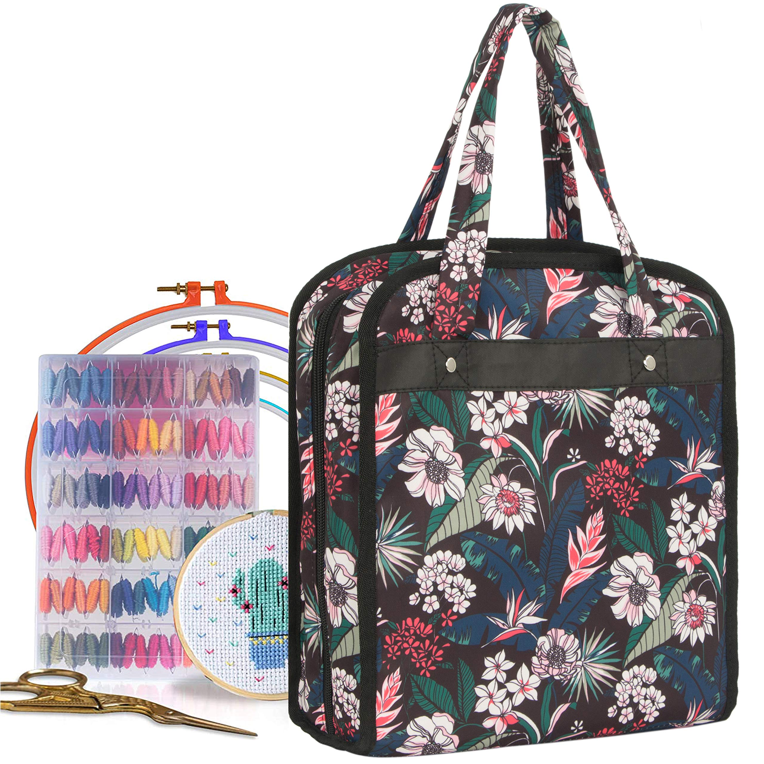PACMAXI Embroidery Storage Bag, Roomy Embroidery Bag with Multiple Pages for Embroidery Hoops Up to 11.02 inch, Embroidery Floss and Supplies(Bag Only) (Flower with Black)