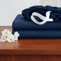 """Empyrean Bedding 14"""" - 16"""" Deep Pocket Fitted Sheet – Hotel Luxury Silky Soft Double Brushed Microfiber Sheet – Hypoallergenic Wrinkle Free Cooling Deep Pocket Bed Sheet, Set of 2 Cal King - Navy"""