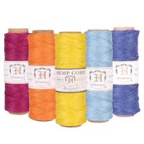 Hemptique 100% Natural Hemp Cord Spool Value Pack – 205ft ~ 62.5m X 5 - Hemp String - Biodegradable .5mm Cord Thread for Jewelry Making, Macramé, Scrapbooking, Greeting Cards & More – Sunset Pack
