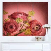 Design Art Ranunculus Flowers Stem on Pink Floral Canvas Artwork Print, 36x28-3 Panels