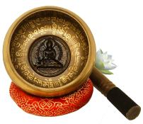 "Large Tibetan Singing Bowl Set-Meditation Symbols Printed 5"" Singing Bowl With Wooden Mallet & Cushion For Prayer/Meditation/Yoga/Chakra Healing/Mindfulness/Decoration (Gold)"