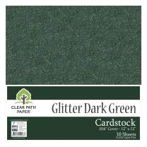 "Glitter Dark Green Cardstock - 12 x 12 inch - .016"" Thick - 10 Sheets"