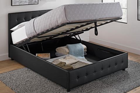 Dhp Cambridge Upholstered Faux Leather, Dhp Maven Platform Bed With Under Storage Queen Black Faux Leather