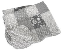 Stephan Baby Heirloom-Quality Pieced Crib Quilt, Gray and White Florals and Dots with Scalloped Hem
