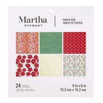 Martha Stewart Paper Pad-Red/White/Greenery 6x6 Paperpad, 6 x 6 inches, Multicolor