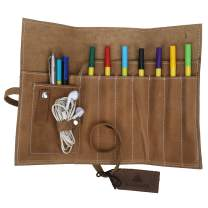 Roll up Leather Pencil Pouch - Art Brush Pen Fold Pouch Holder for School, Office and Work - 8x3.5 Inches - Fresh Brown