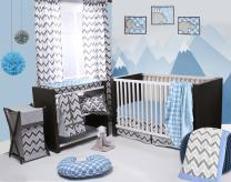 Bacati Ikat Blue/Grey 4 Crib Set with 2 Muslin Swaddling Blankets, Crib Skirt & Solid Crib Sheet
