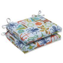 "Pillow Perfect 569550 Outdoor/Indoor Seapoint Summer Lumbar Pillows, 11.5"" x 18.5"", Blue"