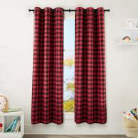 "AmazonBasics Kids Room Darkening Blackout Window Curtain Set with Grommets - 42"" x 84"", Red Buffalo Plaid"