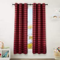 "AmazonBasics Kids Room Darkening Blackout Window Curtain Set with Grommets - 42"" x 84"", Red Buffalo Plaid"