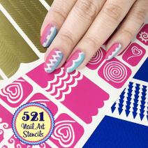 521 Nail Art Stencils Vinyl - 18 Different Swirl Shapes: Arrows, Chevron, French Tip & More Adhesives Stripe Guides Patterns Designs in 3 Sheets Supplies Kit Stickers Tape Foil Decals Craft Gift